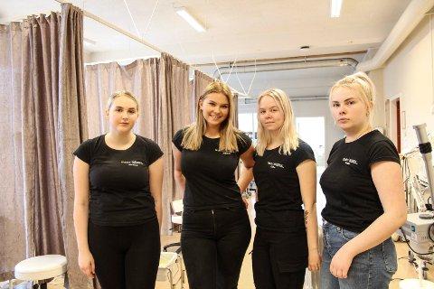 I salen: v Jessica Jensen,  Malin Hallaraune Bogfjellmo, Thea Skaarn og Roda Kristiansen i salen hvor de tar imot kunder.