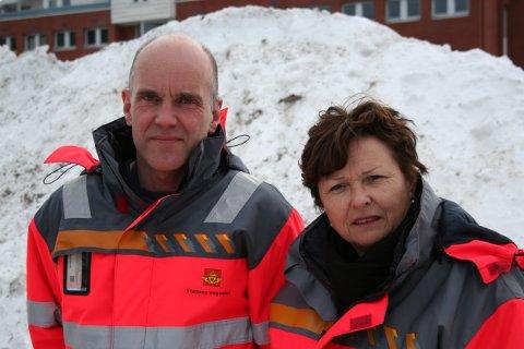 Avdelingsdirektørene Tore Lysberg (Drift og vedlikehold) og Unni M. Gifstad (Transport og samfunn).