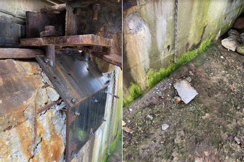 Skader: Rapporten til Bilfinger sier at det er store skader i betong på venstre landfeste (sett fra land).  - Det bør gjøres en større utbedring på dette, det er en fare for at hele landfestet kan løsne, står det i rapporten.