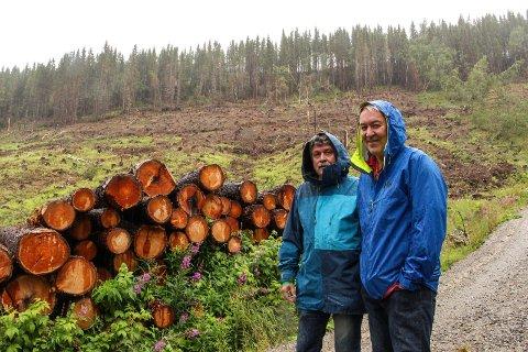 Per Skogsås (t.v.) og Gunnar Holmen er fortørnet over resultatet av hogsten i Vallia.