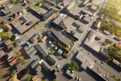 PLANENE KLAR: Vi ser det nye bygget tegnet inn midt i bildet. T.h. ser vi bygget til Helgeland Sparebank.