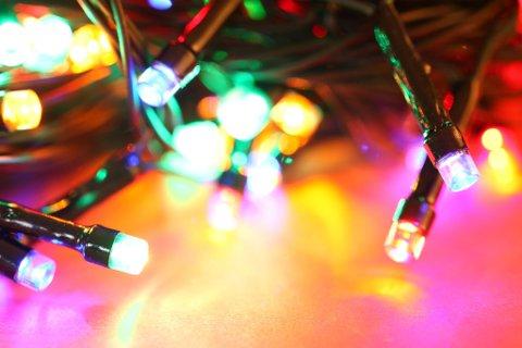 Close up of blinking LED bulbs