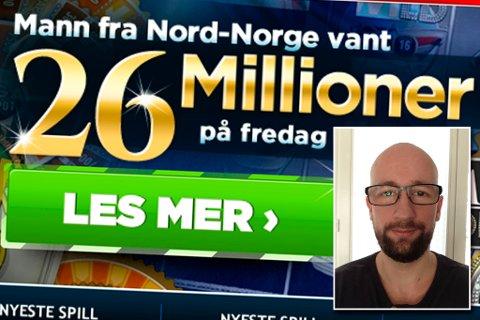 Norskeautomater og Allan Bjerkan feirer jackpot-vinneren på sine nettsider. Skjermdump norskeautomater.com/privat