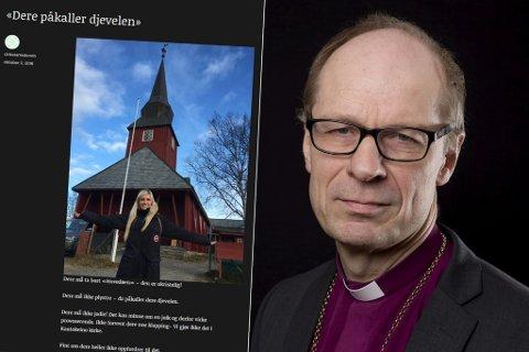 GAMMEL BEVEGELSE: Olav Øygard griper ikke inn mot menighetsrådet i Kautokeino etter liste med krav ble omtalt i bloggen til Maria Arredondo (innfelt til venstre). Fotomontasje.
