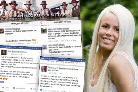 BER KVINNER AKSJONERE: Rannveig Heitmann og mange andre kvinner oppfordrer menn til å melde seg ut det de det kaller ufyselig mannegruppe. Bildemontasjen viser kommentarer i Facebook-gruppen og reaksjoner fra kvinner som aksjonerer.