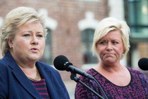 FORSTÅR IKKE FINNMARK: Det mener fylkesvaraordfører Tarjei Jensen Bech (Ap) om Høyre og Frp, her representert ved partilederne Erna Solberg (H) og Siv Jensen (H). Arkivfoto.