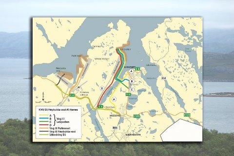 Slik illustrerer Statens Vegvesen de ulike mulighetene for veiutbygging, avhengig av hvor de ulike prosjektene på Tømmerneset blir liggende