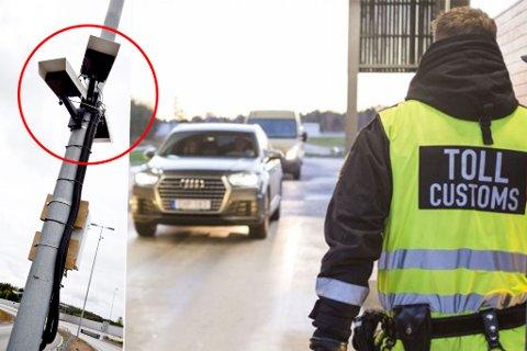 SUPERVÅPENET: Den som har noe ulovlig med seg over grensen har grunn til å føle seg mer utrygg når slike kameraer monteres opp i Finnmark. Fotomontasje. Foto: Nyebilder.no / Statens vegvesen / Arkiv