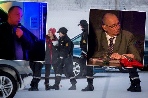 LIVSFARLIG: Eirik Nilsen betegnet Fremskrittspartiets asylpolitikk som livsfarlig. Han ble selv arrestert for å hjelpe asylanter til kirkeasyl. Jan-Henrik Fredriksen sier han respekterer menneskerettigheter, men også demokrati. Bildet i bakgrunnen viser pågripelsen av en annen flyktninghjelper.