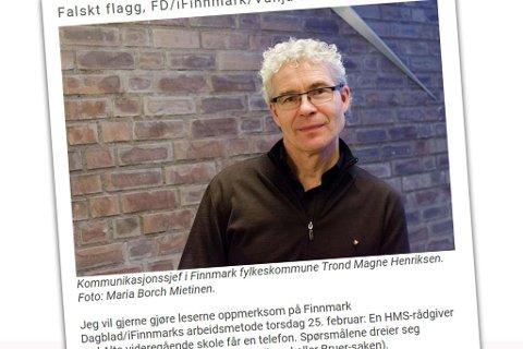 Her er innlegget kommunikasjonssjef i Finnmark fylkeskommune, Trond Magne Henriksen, la ut på fylkeskommunens hjemmesider.