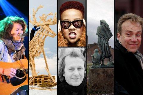 """Utvalg fra Barentsdagene 2016. Fra venstre; Fay Wildhagen; skulptur til Barents Spektakels åpningsshow; Miss Tati; deLillos; bilde fra utstillingen """"Reconstructing deconstruction"""", og til høyre utenriksminister Børge Brende (H)."""