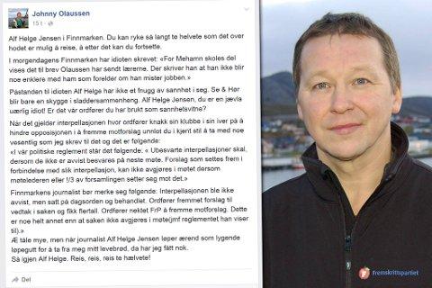 KRAFTIG ORDBRUK: I dette innlegget på Facebook holder Johnny Olaussen (innfelt) tordentale og angrep mot en navngitt journalist.  Fotomontasje. Foto: Skjermdump / Inge Brox