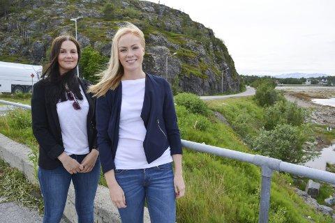 Farlig Strekning: Marielle Myrvang og Ingvild Knutsen ble i vår ferdigutdannet ingeniører ved Høgskolen i Narvik. De har valgt å gå veiretningen etter å ha gått bygg- og anleggslinja første året. De har skrevet bacheloroppgave om Amtmannsnesveien som er veien bak dem på bildet.