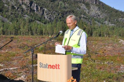 Styreleder Per Hjort i Statnett nylig under markeringen på Skillemo utenfor Alta av igangstart av bygging av 420 kV-linje fra Balsfjord til Skaidi.