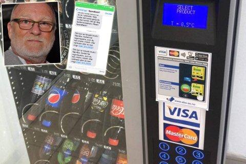 FRA AFRIKA?: Denne automaten står på gulvet på Hammerfest lufthavn, men det påstås at den har betalingsadresse i Namibia. Fotomontasje. Foto: Helle Østvik / Privat