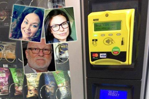 MYSTERIET ER LØST: Mange har undret seg over hvorfor de har fått en SMS fra banken sin om at de ikke får kjøpe brus fordi denne automaten har adresse i Namibia i Afrika. De har nå fått svar. Fotmontasje. Foto: Helle Østvik / Privat