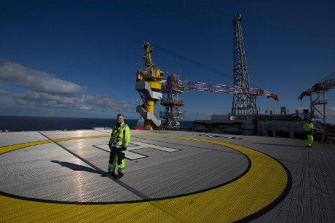 Helikopterdekket på Goliat-plattformen i Barentshavet.