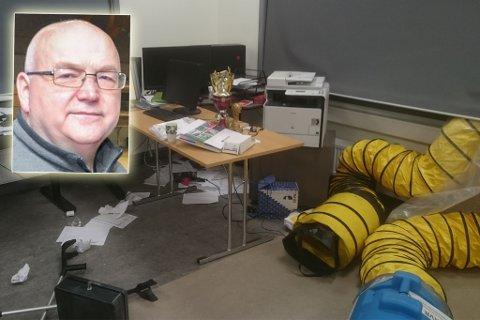 HÆRVERK: Slik så det ut på kontoret til Tommy Hæggernæs etter at tyvene hadde vært på ferde.