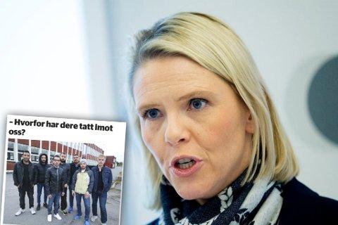 FINNMARKSBESØK: Det oppsto hets i sosiale medier da en gruppe flyktninger (innfelt) for litt siden stilte kritiske spørsmål til tilbudet de får i Norge. Nå kommer Sylvi Listhaug (Frp) på besøk til Mehamn hvor et tema blir rasisme mot syrere.