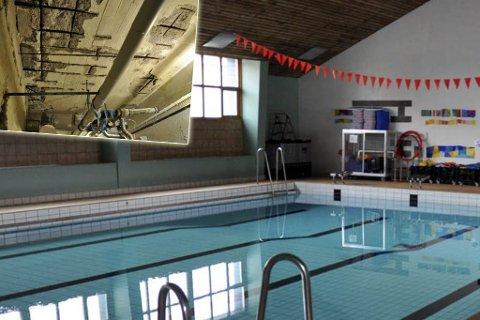 Friskmeldt basseng: På bildet ser du bassenget i Svømmehallen som nå er friskmeldt av Nordkapp kommune. Bildet innfelt er av undersiden av tribunen rundt bassenget. Her ser man at armering har løsnet og murbiter har ramlet ned.- Ikke farlig, sier Nordkapp kommune.