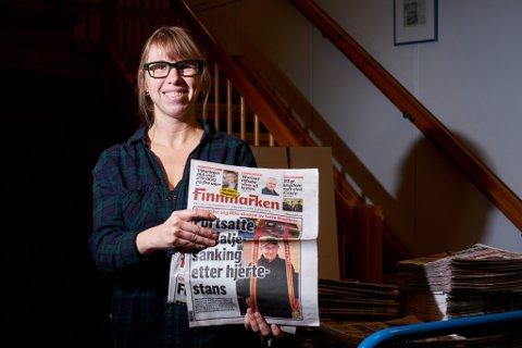 GLAD: Anniken Renslo Sandvik, sjefsredaktør i Finnmarken håper nå at avisen skal komme fram til abonnentene i Båtsfjord også.