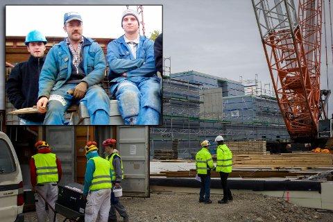 UTEN JOBB: Kirkenes Byggservice har lagt ned arbeidet på sykehustomta og andre byggeplasser. Ronny Ingebrigtsen håper nye storsatsinger i Sør-Varanger kommer fort i gang og skaper behov for arbeidskraft. På dette innfelte arkivbildet sitter han i midten.
