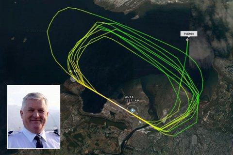 SIRKLET: Ifølge ADSB-data (posisjonsdata) sanket inn av nettstedet flightradar24.com tok FlyVikings Bombardier Dash 8-103, med registreringen LN-FVA, åtte runder rundt Alta lufthavn lørdag formiddag.