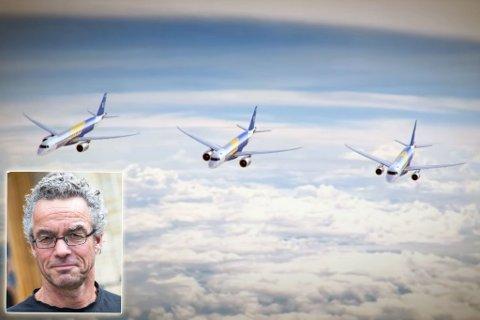 KLIMAVENNLIG: Miljøpartiet De Grønne og Rasmus Hansson (innfelt) ønsker at Finnmark skal bli et testfylke for klimavennlig luftfart. På bildet vises flytypen Embraer E190-E2. Illustrasjon: Embraer Commercial Aviation