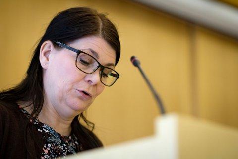 Fylkestingsrepresentant Trine Noodt (V), fylkestinget torsdag 15. mars.