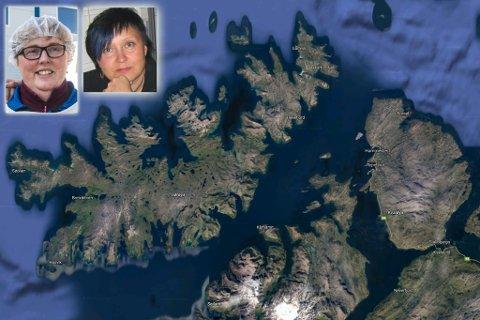 ER FORNØYD: Daglig leder i fiskebruket Johan Kvalsvik AS i Akkarfjord på Sørøya, Ann-Kristin Kvalsvik, sier at de har tilstrekkelig med forbindelse til fastlandet og har ikke behov for en reiserute via Seiland. Montasje.