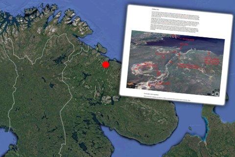 NÆR NORGE: Okolnaya Bay ligger rundt 250 kilometer unna Kirkenes. The Independent Barents Observer melder om stor byggeaktivitet på flere atomlagringsplasser på Kolahalvøya. (Skjermdump The Independent Barents Observer)