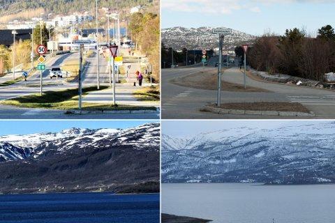 KONTRASTER: Geir Larsen har tatt bilder fra veikrysset i Svaneveien og et fjell i Alta, i år som i fjor på samme dato. Det er litt mer snø i år.