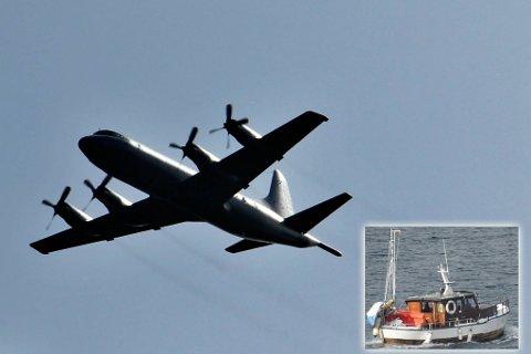 SETTES INN: Forsvarets Orion fra Andøya settes inn i søket etter savnet fisker. Montasje.