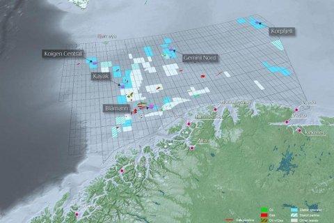 SKAL LETE: Kart over de fem brønnene Statoil skal bore i Barentshavet. Den mest interessante er Korpfjell, nord i Barentshavet mot delelinjen til Russland.