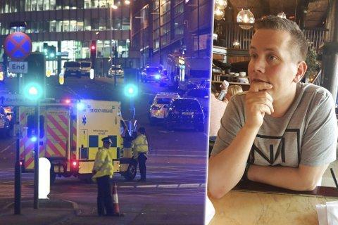 TERROR: Bevæpnet politi og ambulanser utenfor Manchester Arena etter terrorangrepet sent mandag kveld. En konsert med Ariana Grande ble utsatt for terrorangrep. Flere nordmenn og finnmarkinger oppholdt seg i byen da terrorangrepet fant sted, deriblant Marius Bredesen og familien.