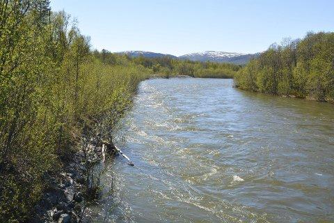 HÅPER IKKE PÅ REGN: Det er høy vannføring i Eibyelva for tiden, men det er ikke ventet at vannstanden vil øke framover.