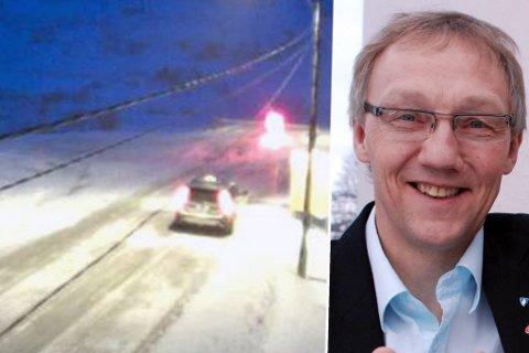 VEIKRAV: I vinter har veiene i Finnmark vært mye stengt. Blant annet viser dette illustrasjonsbildet at drosjebil ble stående bak stengt bom på Kongsfjordfjellet en februardag. Gir Ove Bakken vil ha færre stengte bommer oftere i hele fylket.