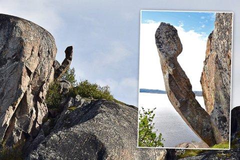– BEDRE ENN «TROLLPIKKEN»: Bernt Nilsen mener denne formasjonen på Reinøya i Bøkfjorden er bedre enn den kjente «Trollpikken» i Egersund, som nå har blitt ødelagt.