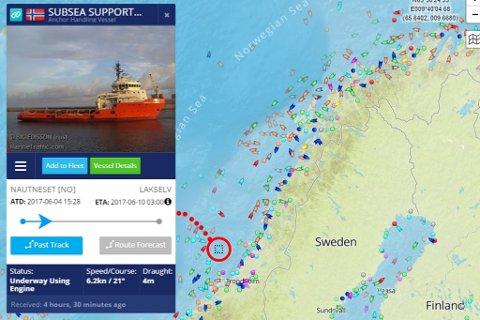 UTENFOR TRØNDELAG: Subsea Supporter som har Sea Walk'en på lekter var mandag kveld utenfor Trøndelag.