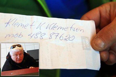 VANT SCOOTER: Lensmann Klemetsen trakk sitt eget navn opp av boksen, det førte til etterforskning av Spesialenheten.
