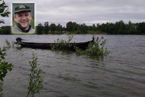 BRÅFLOM: Plutselig vokste elva seg stå stor at båten til Odd Erling Mikalsen (innfelt) holdt på å bli tatt av flommen. Montasje.