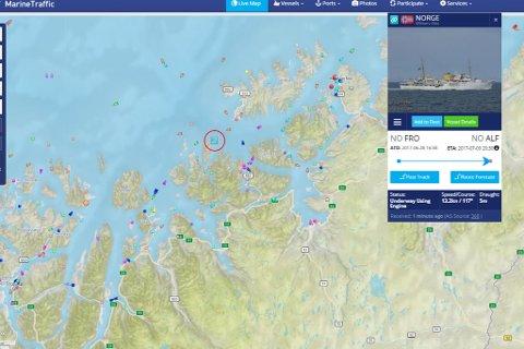 UTENFOR LOPPA: Kongeskipet «Norge» er i skrivende stund utenfor Loppa kommune i Finnmark. Destinasjonen er, ifølge Marine Traffic, Alta.