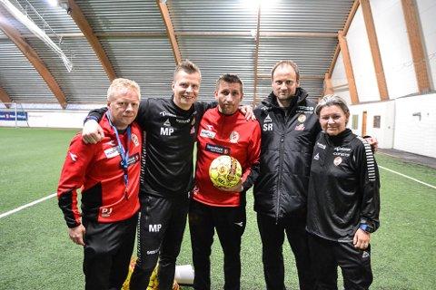 SAMARBEID: Norild-trener Pål Johnsen (f.v.), Morten Pedersen fra TIL, Frode Jensen fra Norild, Sigurd Rushfeldt og Merethe Johansen fra TIL.