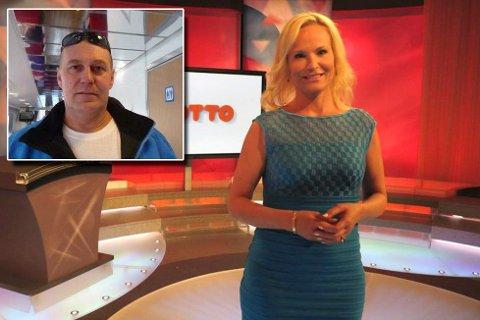 TOK DET MED FATNING: 14,5 millioner kroner blir overørt til Terje Einar Ernstsen sin konto. Han trengte en halvtime på å fordøye nyheten. Ingeborg Myhre Ludlow ledet lørdagens sending.