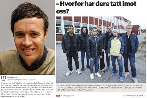 SLETTET POSTEN: Ansvarlig redaktør i iFinnmark, Arne Reginiussen, slettet Facebook-innlegget om asylsøkerne som varslet om manglende norskopplæring på grunn av for mange stygge kommentarer.