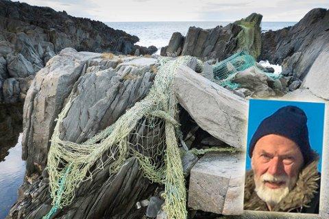 SØPPEL: Det lå fiskegarn, liner og not langs hele fjæra på Vargvikholmen i følge Bäsemann.