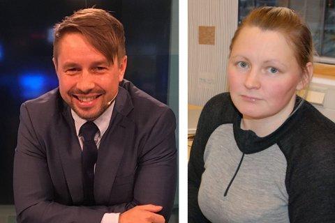 ÅPNE SØKERE TIL LEDERJOBB: Sara Beate Eira Persson (36) og Johan Ánte Utsi (39) søker begge om å bli nyhetsredaktør i NRK Sápmi og kjemper mot to hemmelige søkere, en kvinne, og en mann.