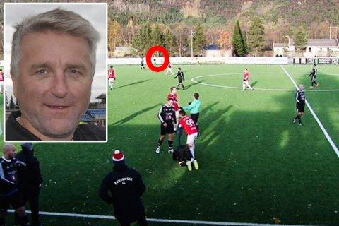 FRIKJENNES: Den omtalte dommeren står på motsatt side av banen når taklingen settes inn, og kan derfor ikke beskyldes for ikke å oppfatte situasjonen, fastslår Paul Erling Andersen fra Finnmark Fotballkrets.