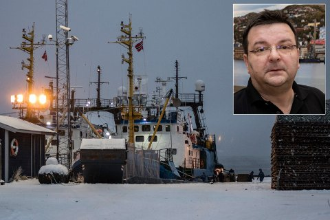 BRÅ START PÅ  ARBEIDSDAGEN: En fiskebåt smalt inn i denne kaia like ved Kirkenes sentrum tidlig tirsdag morgen.