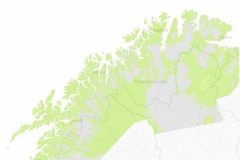 BART: Forrige uke var kartet over Finnmark fritt for snø. Tirsdag er fylket dekket.